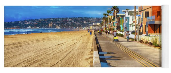 Yoga Mat featuring the photograph Mission Beach Boardwalk by Alison Frank