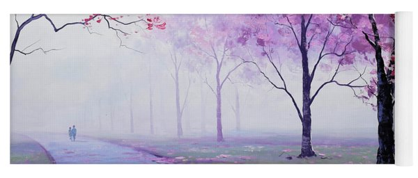 Misty Blossom Trees Yoga Mat