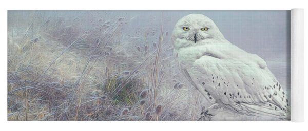 Misty Morning Snowy Owl. Yoga Mat