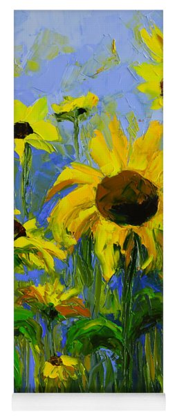 Misty Morning - Sunflower Field Oil Painting, Landscape Art Yoga Mat