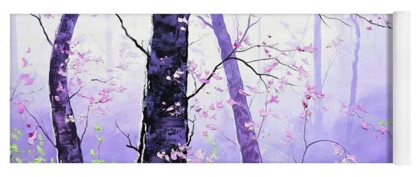 Misty Pink Trees Forest Yoga Mat