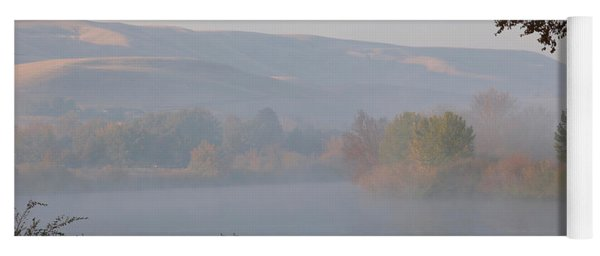 Misty River With Geese And Hills Yoga Mat