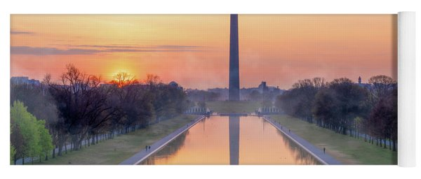 Misty Sunrise On The National Mall Yoga Mat