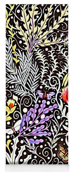 Modern Tapestry Design In Black, White, Purple And Yellow Yoga Mat