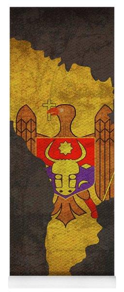 Moldova Country Flag Map Yoga Mat