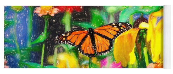 Monarch Butterfly Colored Pencil Yoga Mat
