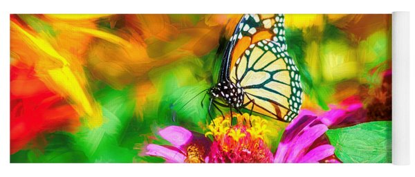 Monarch Butterfly Impasto Colorful Yoga Mat