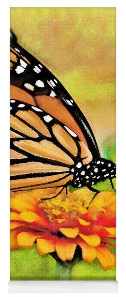 Monarch Butterfly On Flower Yoga Mat