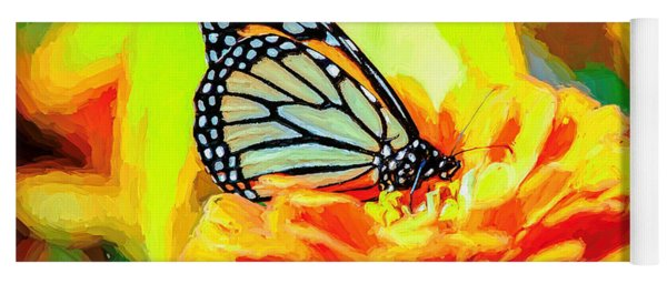 Monarch Butterfly Van Gogh Style Yoga Mat