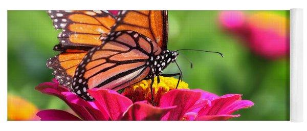 Monarch Visiting Zinnia Yoga Mat
