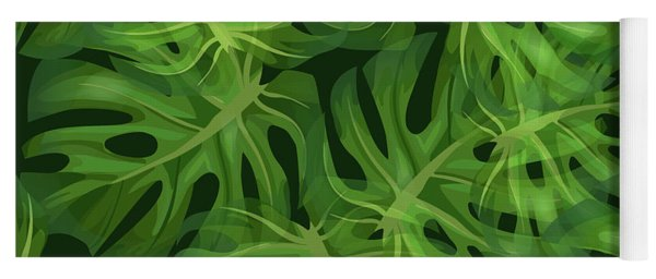 Monstera Leaf Pattern 1 - Tropical Leaf Pattern - Dark Green - Tropical, Botanical Pattern Design Yoga Mat