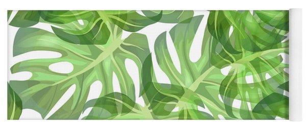 Monstera Leaf Pattern 2 - Tropical Leaf Pattern - Dark Green - Tropical, Botanical Pattern Design Yoga Mat