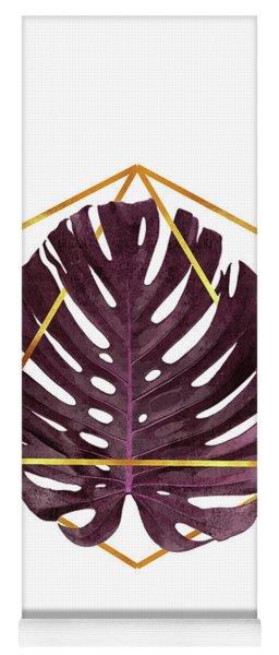 Monstera Leaf Pattern 2 - Tropical Leaf Pattern - Purple - Gold Geometric Shape - Modern, Minimal Yoga Mat