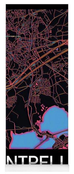 Montpellier City Map Yoga Mat