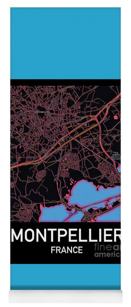 Montpellier City Map Yoga Mat