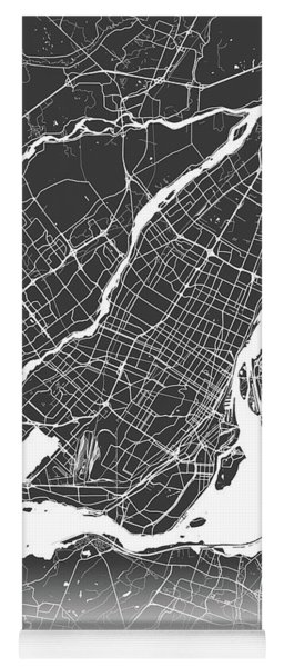 Montreal Map Black And White Yoga Mat