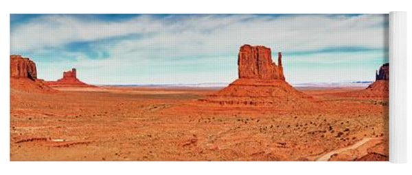 Yoga Mat featuring the photograph Monument Valley Panorama by Andy Crawford