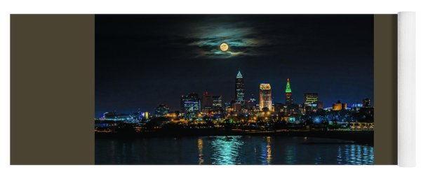 Moon Over Cleveland  Yoga Mat