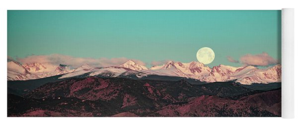 Moonlight Over Colorado Mountains Yoga Mat