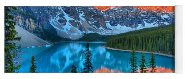 Morain Lake Clear Spring Sunrise Yoga Mat