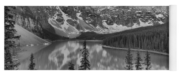Moraine Lake Clear Spring Sunrise Black And White Yoga Mat