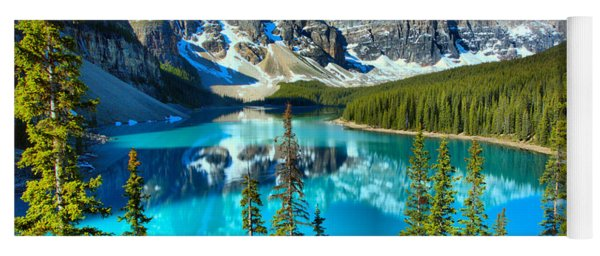 Moraine Lake Morning Reflections Though The Trees Yoga Mat