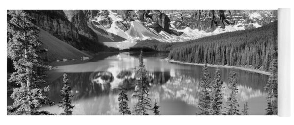 Moraine Lake Morning Reflections Through The Trees Black And White Yoga Mat