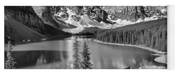 Moraine Lake Rockpile Reflections Black And White Yoga Mat