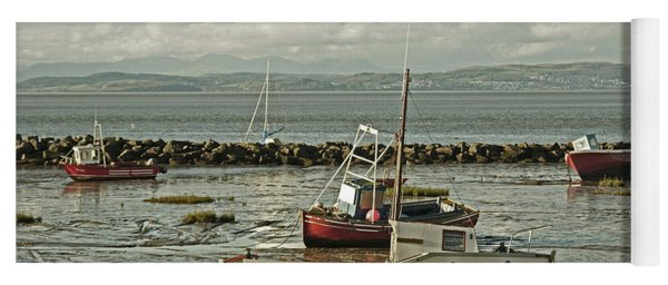 Morecambe. Boats On The Shore. Yoga Mat