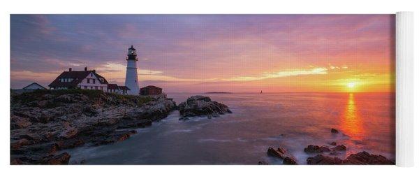 Morning Colors At Portland Head Lighthouse  Yoga Mat