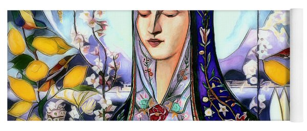 Yoga Mat featuring the digital art Mother Mary by Pennie McCracken
