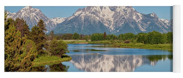 Mount Moran On Snake River Landscape Yoga Mat