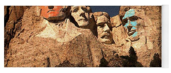 Mount Rushmore Red And Blue Drawing Yoga Mat