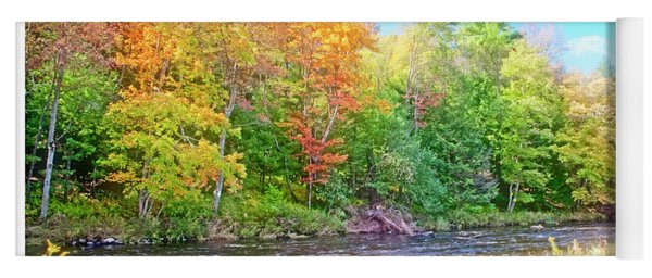 Mountain Stream In Early Autumn Yoga Mat