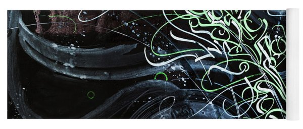 Movement Of The Universe. Calligraphic Abstract Yoga Mat