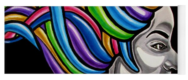 Colorful Abstract Black Woman Face Hair Painting Artwork - African Goddess Yoga Mat