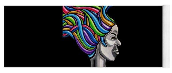 Abstract Face Painting Black Woman Art African Goddess Art Medusa Ai P. Nilson Yoga Mat