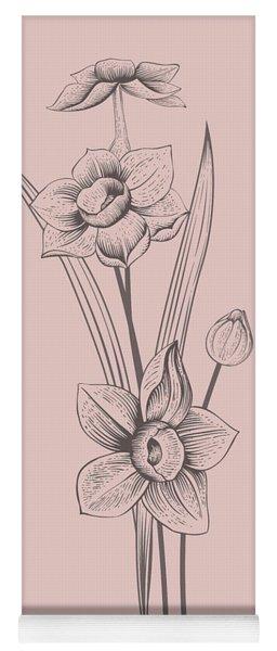 Narcissus Blush Pink Flower Yoga Mat