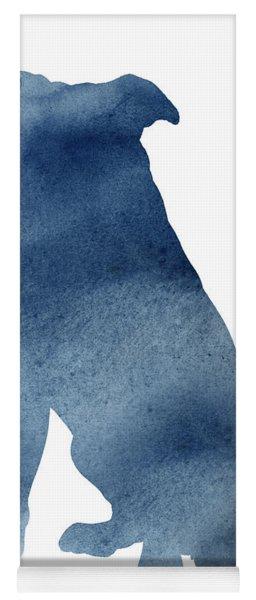 Navy Blue Pitbull Silhouette Sitting Facing Left  Yoga Mat
