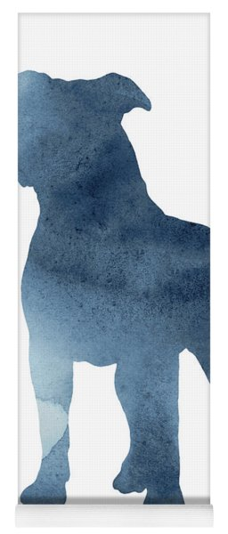 Navy Blue Pitbull Silhouette Standing Facing Left  Yoga Mat