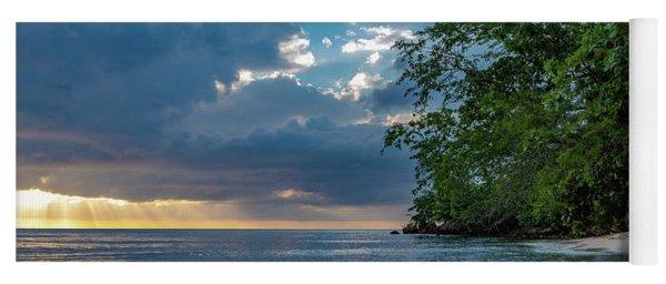 Negril Beach Sunburst At Sunset Yoga Mat