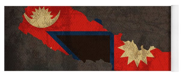 Nepal Country Flag Map Yoga Mat
