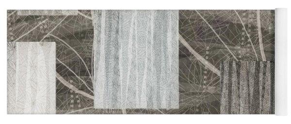 Neutral Leaf Print Squares Cream Yoga Mat