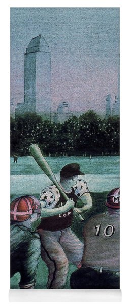 New York Central Park Baseball - Watercolor Art Painting Yoga Mat