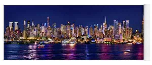 New York City Nyc Midtown Manhattan At Night Yoga Mat