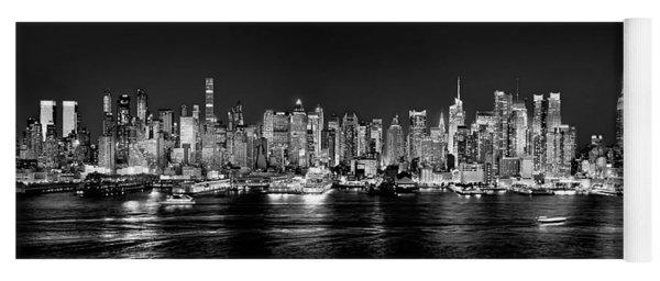 New York City Nyc Skyline Midtown Manhattan At Night Black And White Yoga Mat