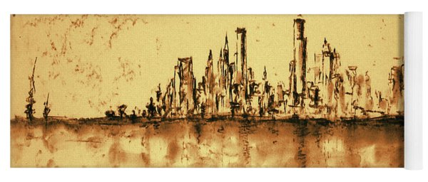 New York City Skyline 79 - Water Color Drawing Yoga Mat