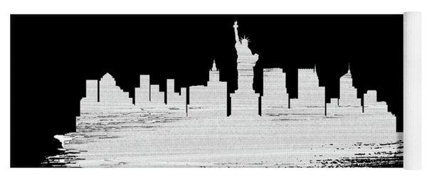 New York Skyline Brush Stroke White Yoga Mat