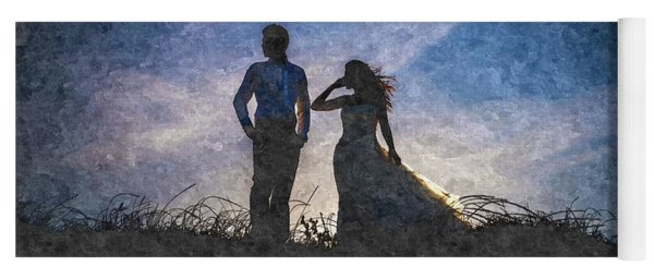 Newlywed Couple After Their Wedding At Sunset, Digital Art Oil P Yoga Mat