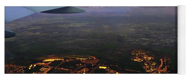 Night Flight Over City Lights Yoga Mat